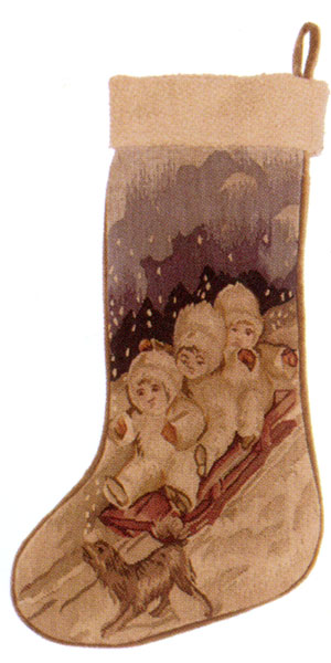 Old World Christmas Collection - Aubusson Stocking DL28A - Bundled Up and Bobsledding
