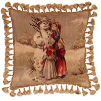 Old World Christmas Collection - Aubusson Pillow DL78A - Around the Snowman