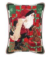 Santa with Dog - Green Background - Needlepoint Pillow