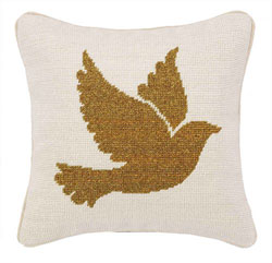 Gold Dove Needlepoint Pillow