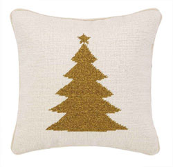 Gold Tree Needlepoint Pillow