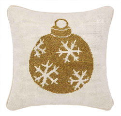 Gold Ornament Needlepoint Pillow