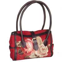 Diagonal Flowers Needlepoint Handbag