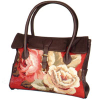 Diagonal Flowers Needlepoint Market Tote