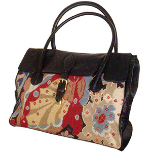 Needlepoint & Leather Tote
