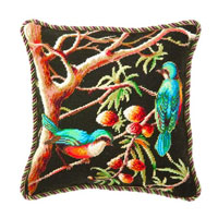 Blue Robin in the Pine Needlepoint Pillow by D.L. Rhein