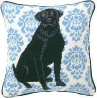 Black Lab Needlepoint Pillow