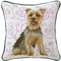 Yorkie Needlepoint Pillow