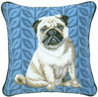 Pug Needlepoint Pillow