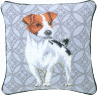 Jack Russell Terrier Needlepoint Pillow